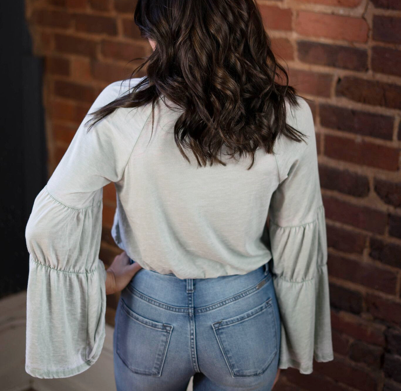 Stone Washed Bell Sleeve Crop