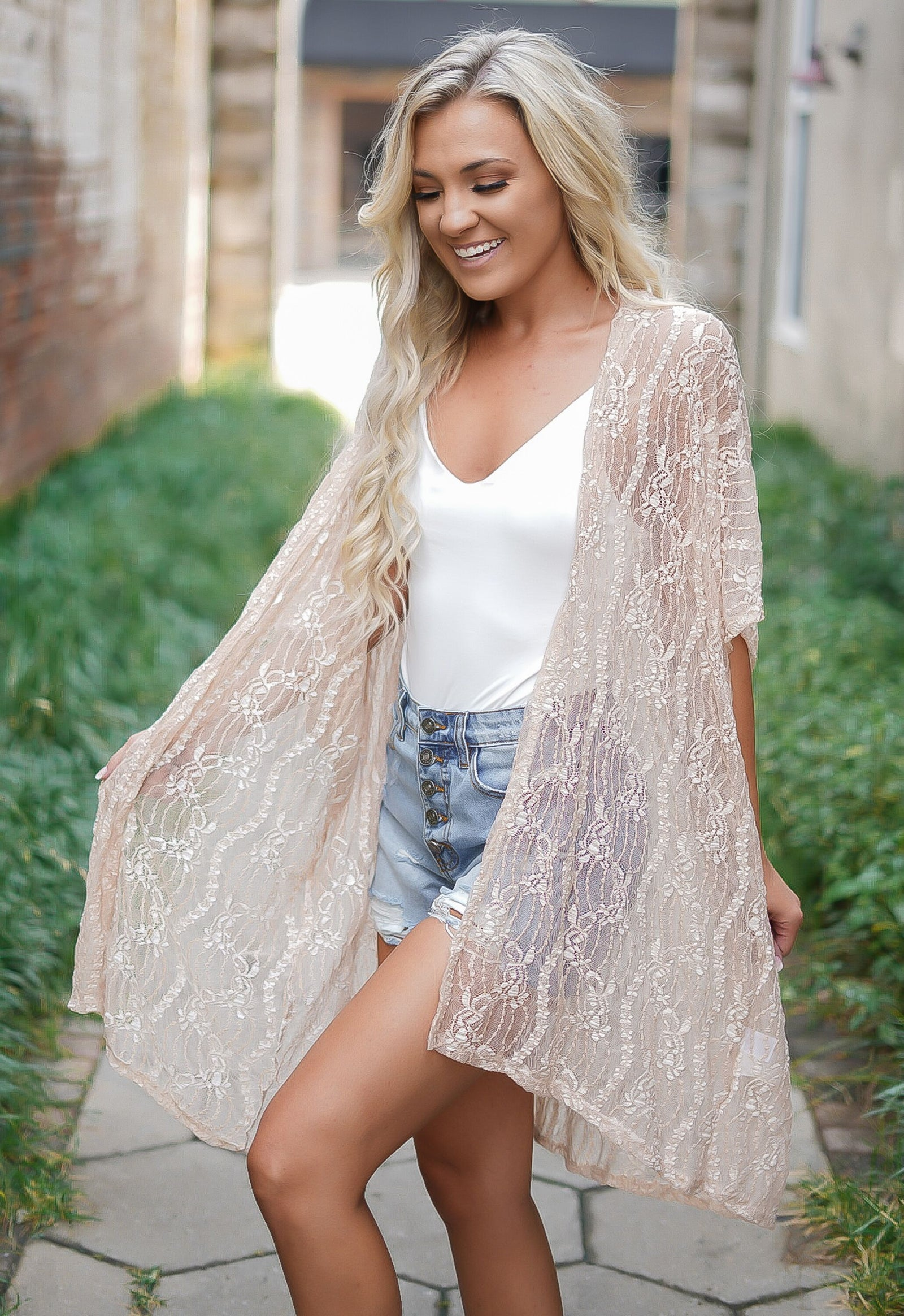 It's You Lace Kimono - Nude