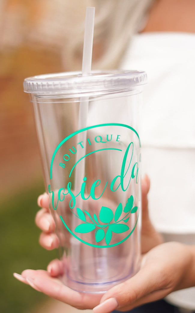 Rosie Daze Cup - Clear and Teal
