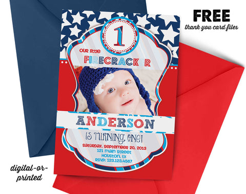 Firecracker Birthday Invitation - AbbyReese Design