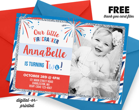 July 4th Birthday Invitation - AbbyReese Design