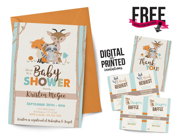 Woodland Baby Shower Invitation - AbbyReese Design