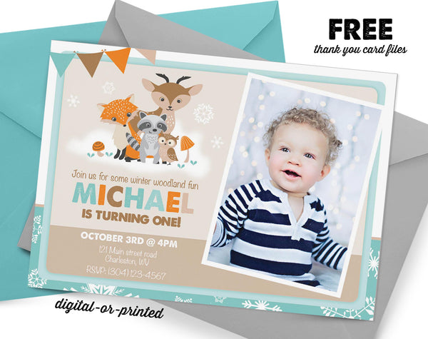 Winter Woodland Birthday Invitation - AbbyReese Design