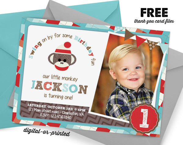 Sock Monkey Birthday Invitation - AbbyReese Design