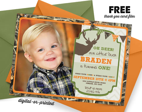 Camo Deer Hunting Birthday Invitation - AbbyReese Design