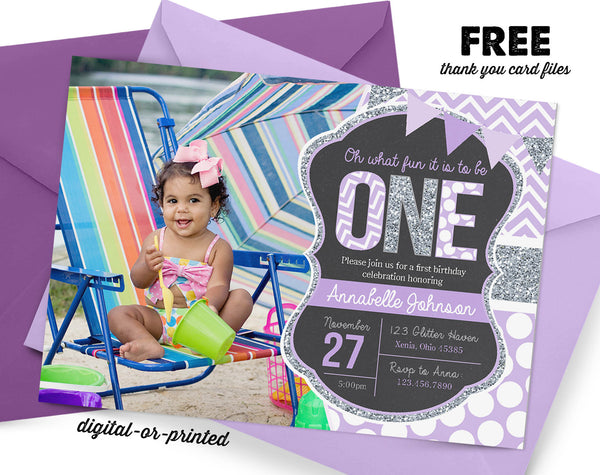 Purple and Silver Glitter First Birthday Invitation - AbbyReese Design