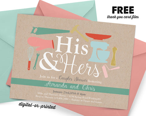 His and Hers Bridal Couples Shower Invitation, couples shower invitation, bridal shower invitation, shower invitation printable, FREE thank you card