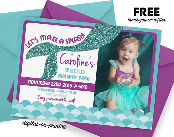 Mermaid Birthday Invitation - AbbyReese Design