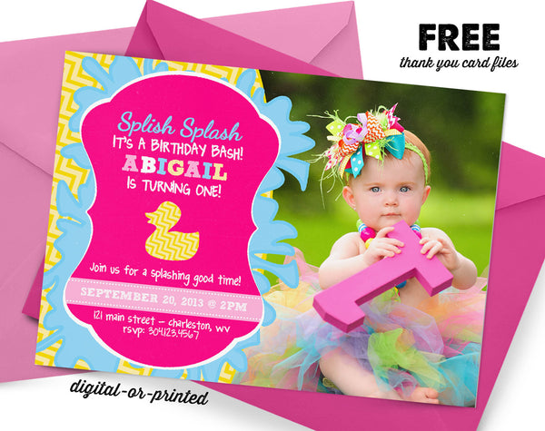 Rubber Ducky Birthday Invitation - AbbyReese Design