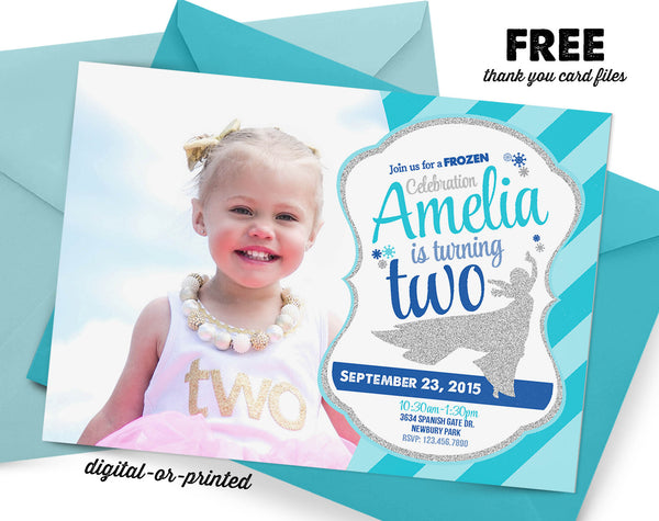 Snow Queen Glitter Birthday Invitation - AbbyReese Design