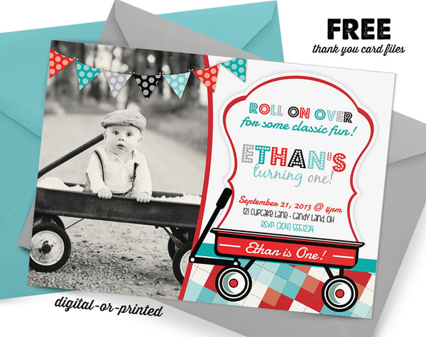 Wagon Birthday Invitation - AbbyReese Design