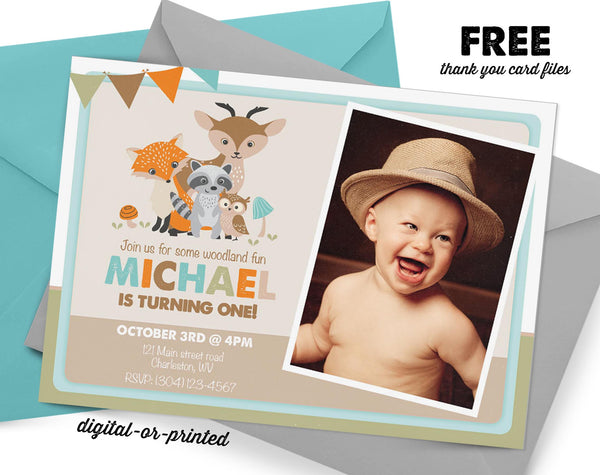 Woodland Birthday Invitation - AbbyReese Design