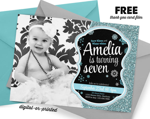Winter Glitter Birthday Invitation, Snow party invitation, Snowflate birthday, party invitation printable