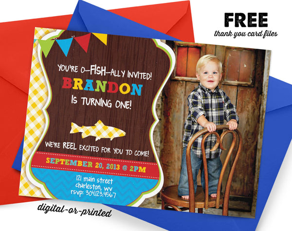 Fishing Birthday Invitation, Fishing party invitation, Fishing birthday, party invitation printable