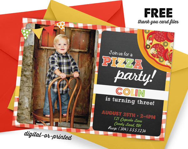 Pizza Party Birthday Invitation - AbbyReese Design