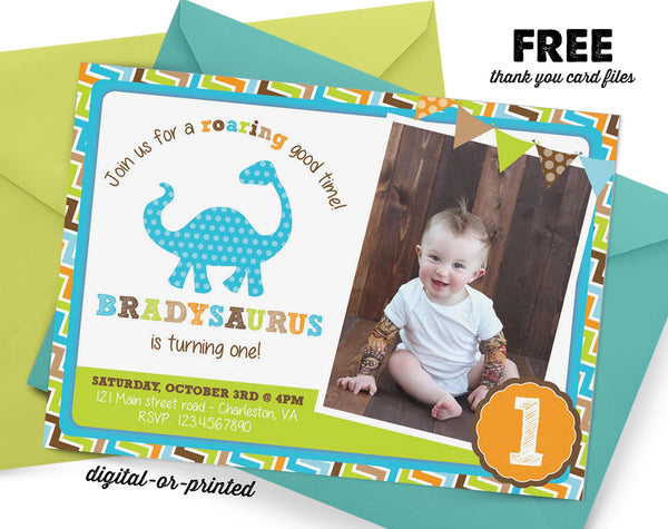 Dinosaur Birthday Invitation - AbbyReese Design