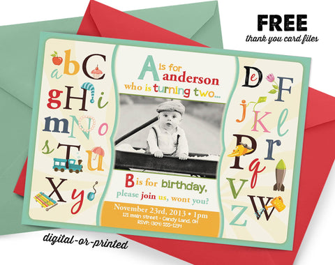 ABC Birthday Invitation, first birthday party invitation, Alphabet birthday, party invitation printable