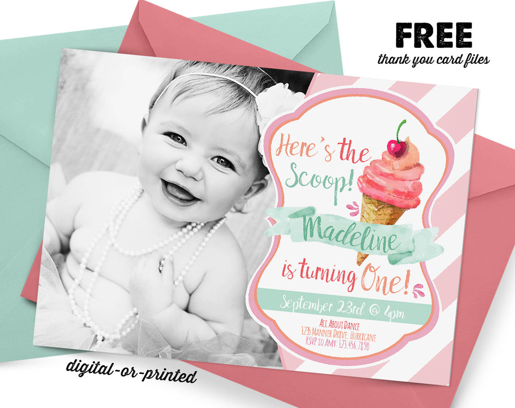 Ice Cream Birthday Invitation - AbbyReese Design