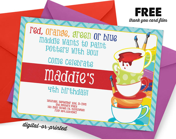 Pottery Birthday Invitation, painting pottery party invitation, splash birthday, party invitation printable