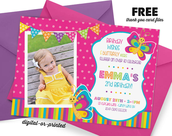 Butterfly Birthday Invitation, Butterfly party invitation, Butterfly birthday, party invitation printable