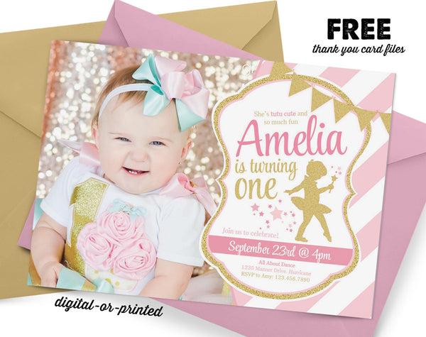 Ballerina Glitter Birthday Invitation - AbbyReese Design