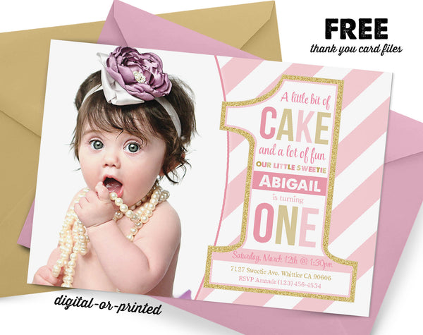 Pink and Gold First Birthday Invitation - AbbyReese Design
