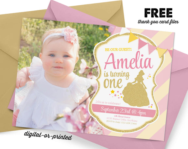 Princess Glitter Birthday Invitation - AbbyReese Design