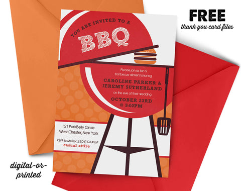 BBQ Bridal Couples Shower Invitation - AbbyReese Design