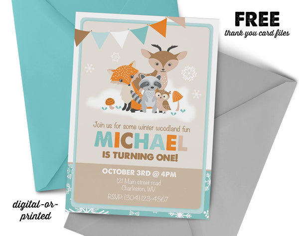 Winter Woodland Birthday Invitation, wild animal party invitation, woodland birthday, party invitation printable, snow party