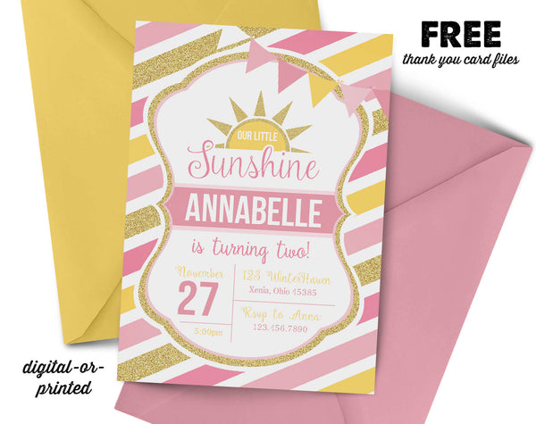 sunshine Birthday Invitation, sunshine party invitation, sunshine birthday, party invitation printable