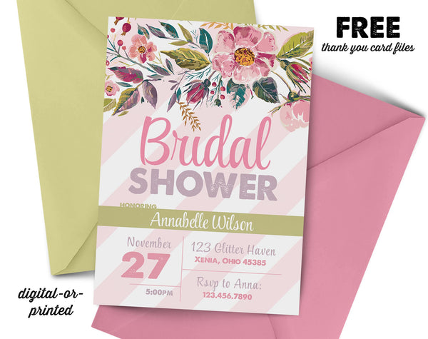 Floral Stripe Bridal Shower Invitation - AbbyReese Design