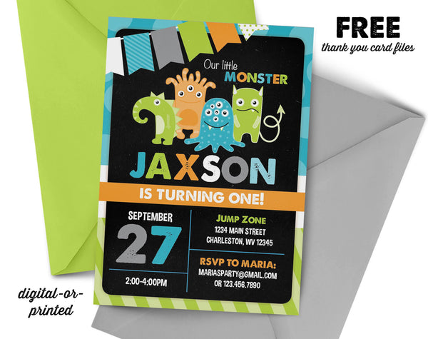 Monster Birthday Invitation - AbbyReese Design