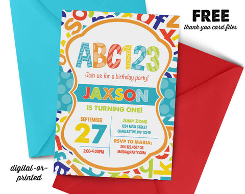Alphabet Birthday Invitation - AbbyReese Design