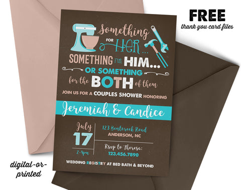 Kitchen Bridal Couples Shower Invitation, couples shower invitation, bridal shower invitation, shower invitation printable, FREE thank you card