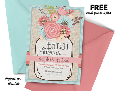 Mason Jar Bridal Shower Invitation, couples shower invitation, bridal shower invitation, shower invitation printable, FREE thank you card