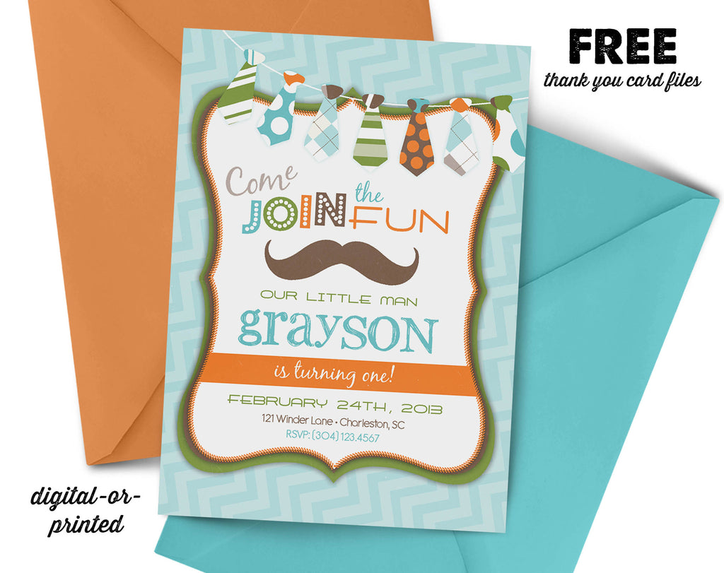 Mustache Tie Birthday Invitation