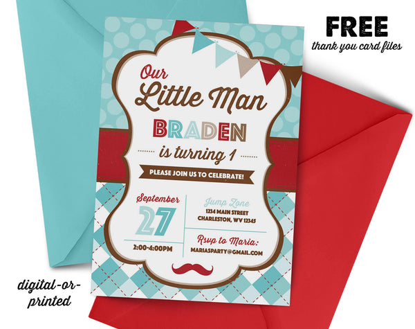Little Man Birthday Invitation - AbbyReese Design