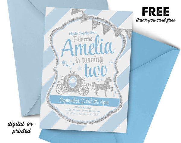 Princess Carriage Glitter Birthday Invitation, Princess party invitation, Princess Carriage birthday, party invitation printable, FREE thank you card