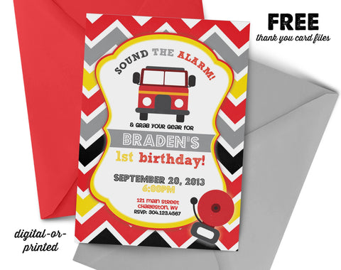 Firetruck Birthday Invitation - AbbyReese Design