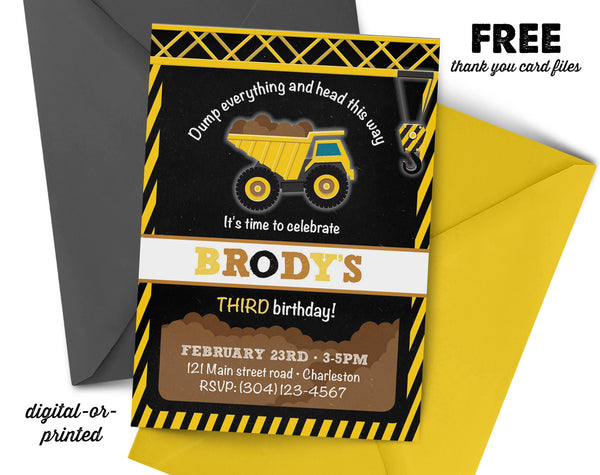Construction Chalkboard Birthday Invitation - AbbyReese Design