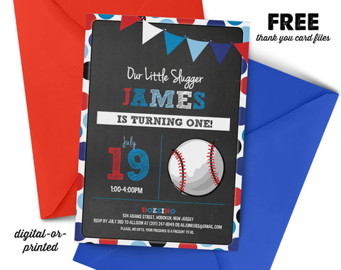 Baseball Chalkboard Birthday Invitation - AbbyReese Design