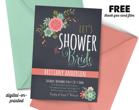 Floral Stripe Couples Shower Invitation, couples shower invitation, bridal shower invitation, shower invitation printable, FREE thank you card