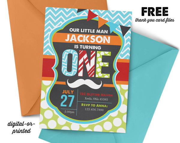 Mustache First Birthday Invitation - AbbyReese Design