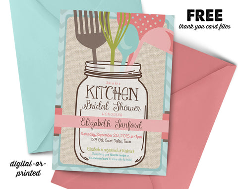 Mason Jar Kitchen Bridal Shower Invitation, couples shower invitation, bridal shower invitation, shower invitation printable, FREE thank you card