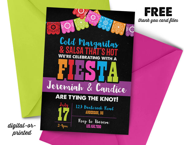 Fiesta Couples Shower Invitation, couples shower invitation, bridal shower invitation, shower invitation printable, FREE thank you card