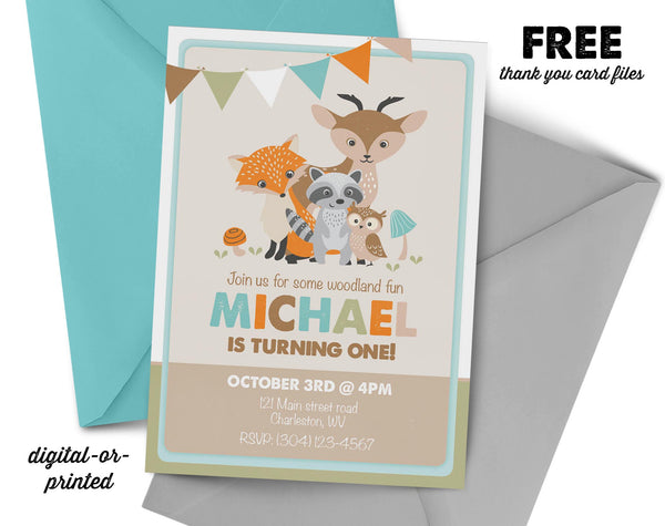 Woodland Birthday Invitation, wild animal party invitation, woodland birthday, party invitation printable
