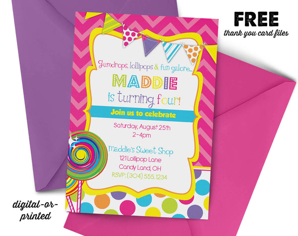 Candy Shop Birthday Invitation - AbbyReese Design