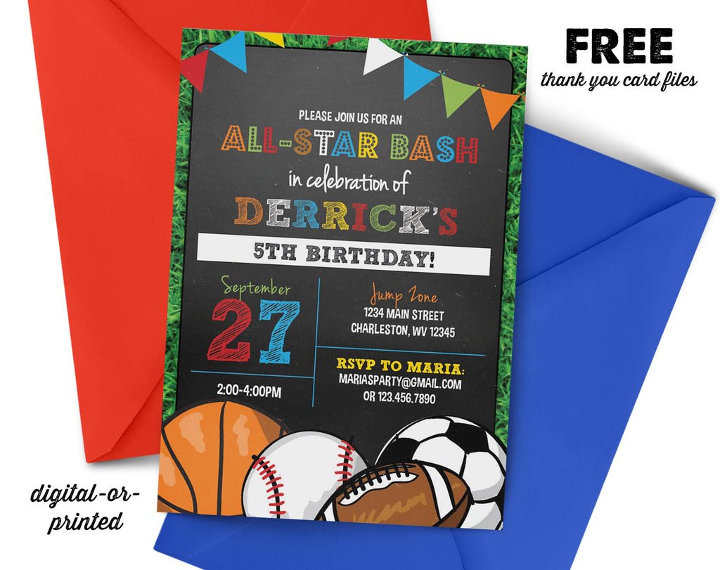 Sports Party Birthday Invitation - AbbyReese Design