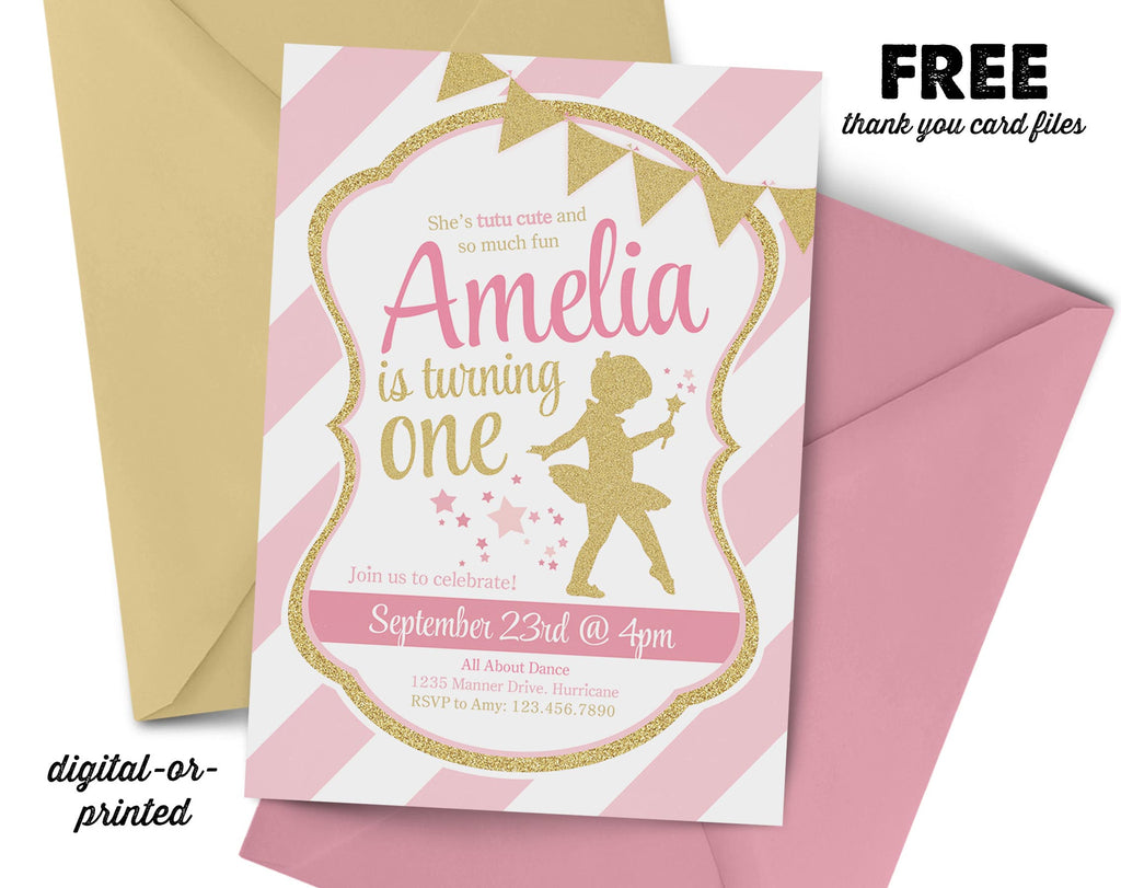 Ballerina glitter birthday invitation abbyreese design ballerina birthday invitation first birthday pink and gold glitter girl dance filmwisefo Image collections