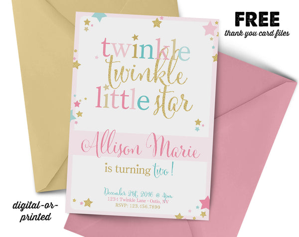 Twinkle Twinkle Little Star Birthday Invitation - AbbyReese Design